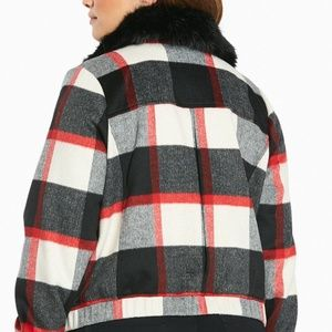 920dfc47a7b torrid Jackets   Coats - Torrid Plaid Wool Bomber Jacket Coat Faux Fur Trim